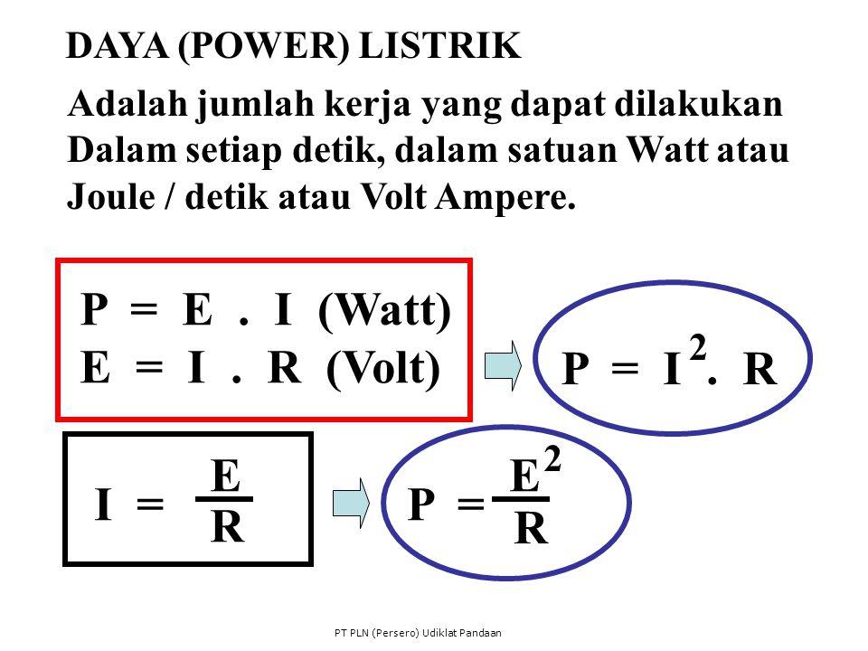P = E . I (Watt) E = I . R (Volt) P = I . R E E I = P = R R