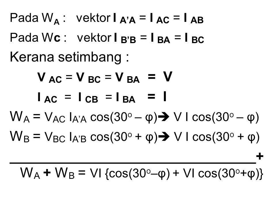 WA = VAC IA'A cos(30o – φ) V I cos(30o – φ)