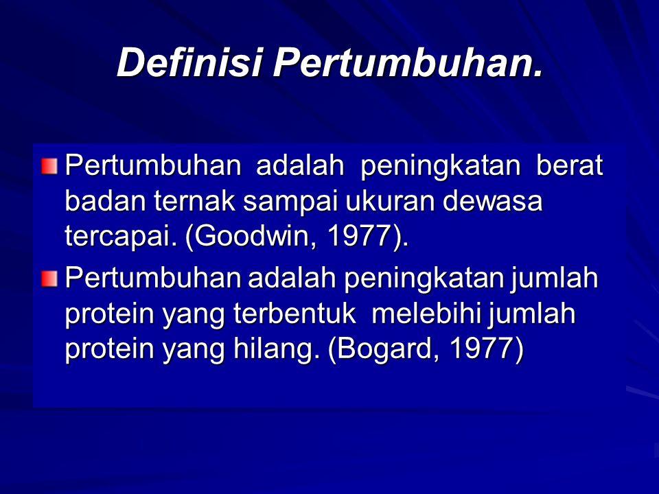 Definisi Pertumbuhan. Pertumbuhan adalah peningkatan berat badan ternak sampai ukuran dewasa tercapai. (Goodwin, 1977).
