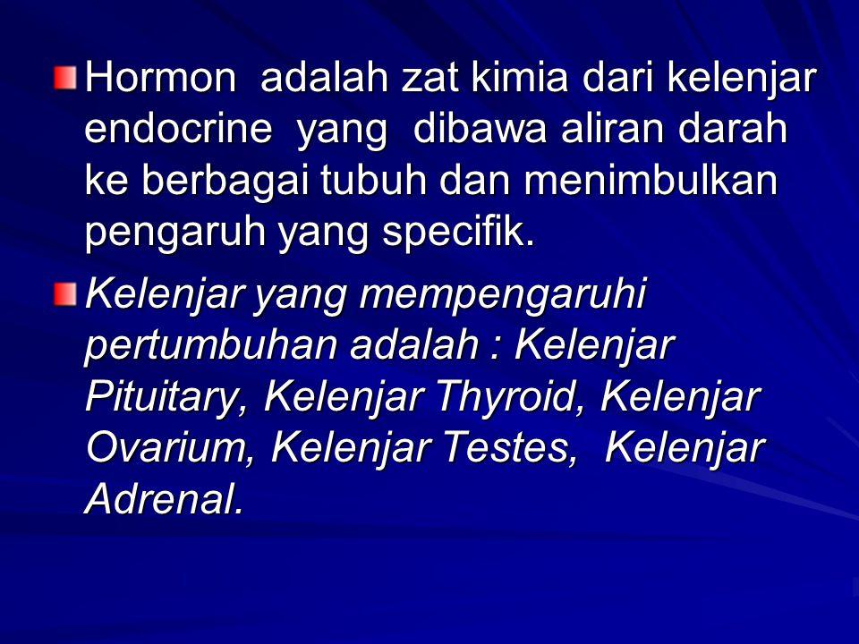 Hormon adalah zat kimia dari kelenjar endocrine yang dibawa aliran darah ke berbagai tubuh dan menimbulkan pengaruh yang specifik.