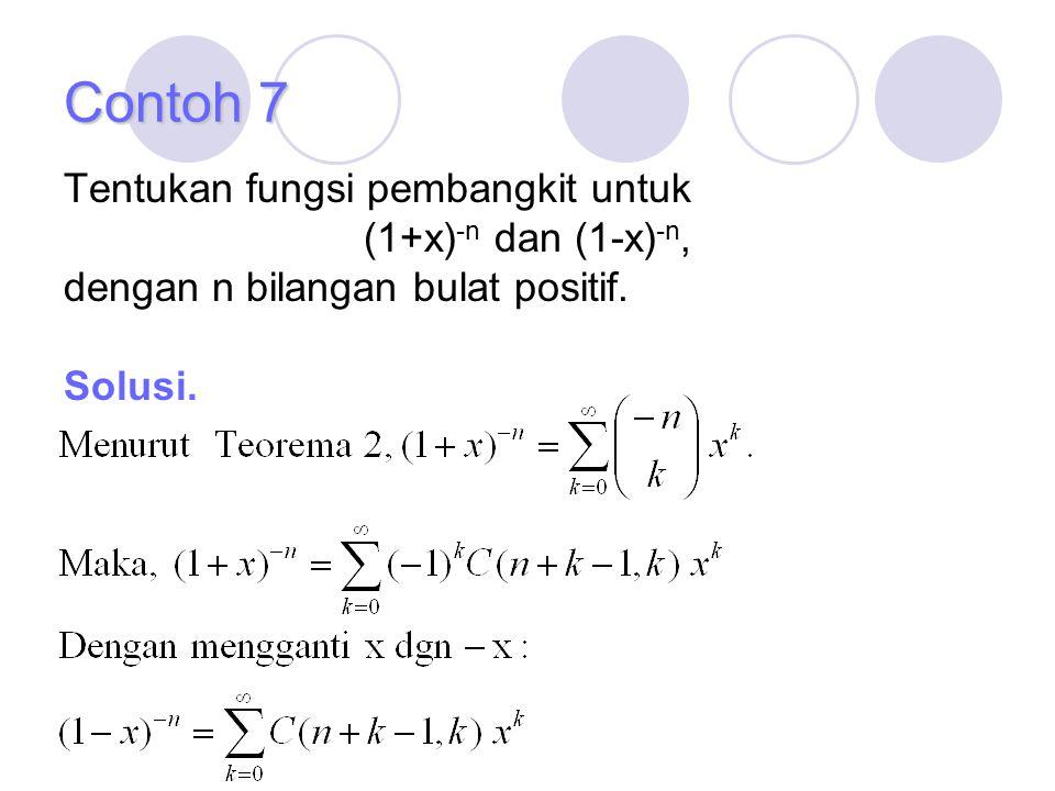 Contoh 7 Tentukan fungsi pembangkit untuk (1+x)-n dan (1-x)-n,