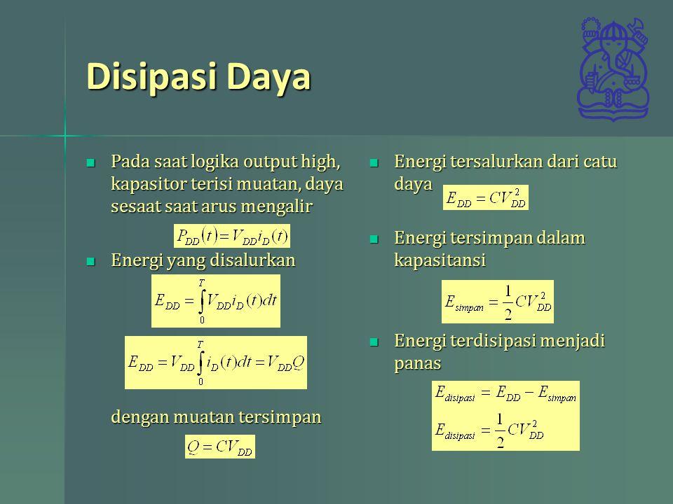 Disipasi Daya Pada saat logika output high, kapasitor terisi muatan, daya sesaat saat arus mengalir.