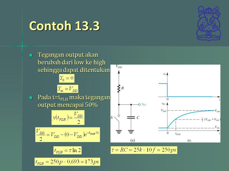 Contoh 13.3 Tegangan output akan berubah dari low ke high sehingga dapat ditentukan.