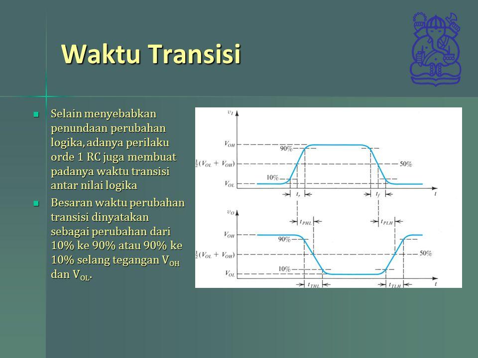 Waktu Transisi Selain menyebabkan penundaan perubahan logika, adanya perilaku orde 1 RC juga membuat padanya waktu transisi antar nilai logika.