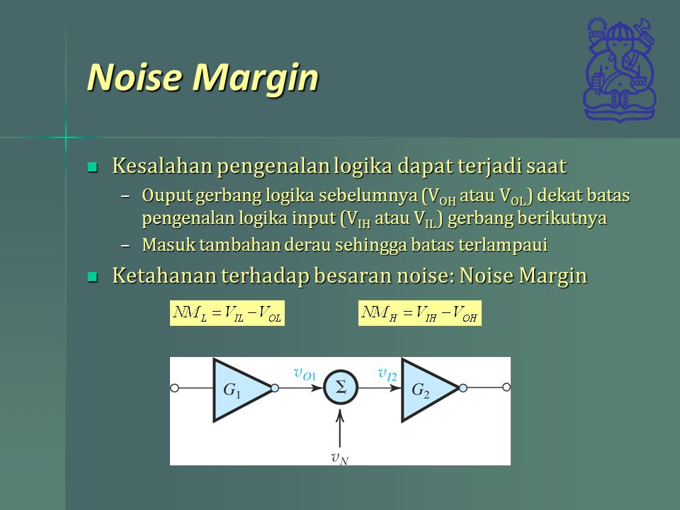 Noise Margin Kesalahan pengenalan logika dapat terjadi saat