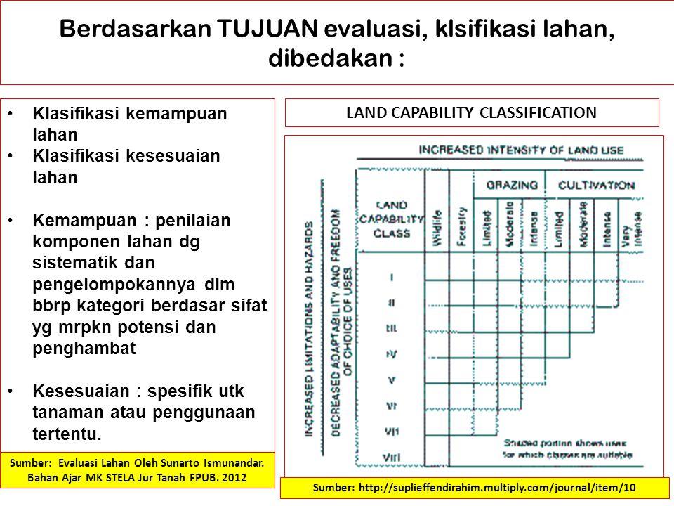 Berdasarkan TUJUAN evaluasi, klsifikasi lahan, dibedakan :