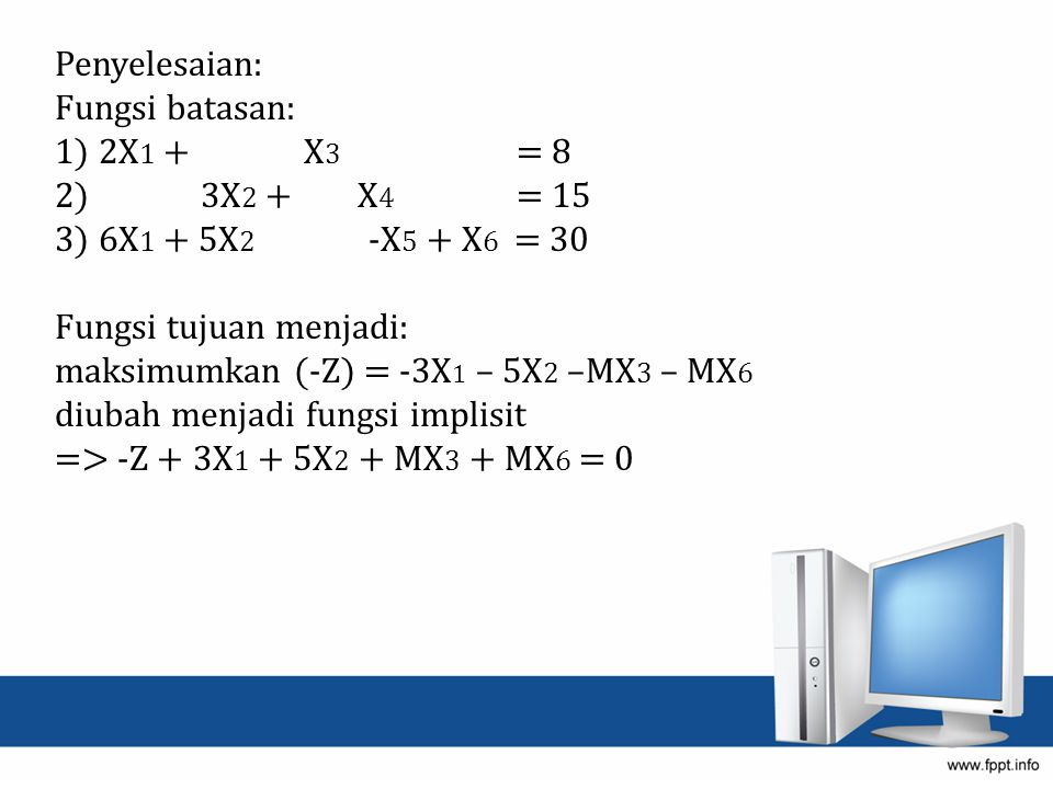 Penyelesaian: Fungsi batasan: 1) 2X1 + X3 = 8. 2) 3X2 + X4 = 15.