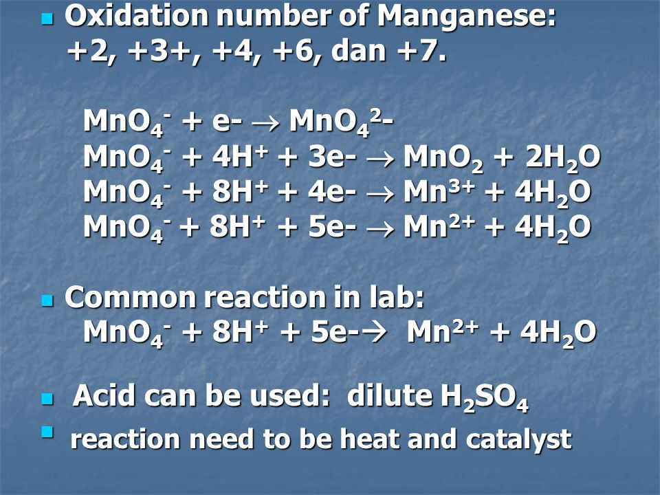 Oxidation number of Manganese: