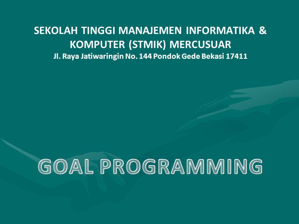 GOAL PROGRAMMING SEKOLAH TINGGI MANAJEMEN INFORMATIKA &