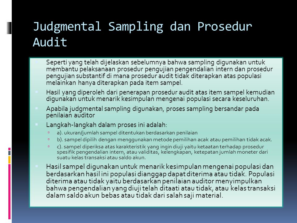 Judgmental Sampling dan Prosedur Audit