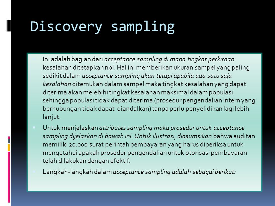 Discovery sampling