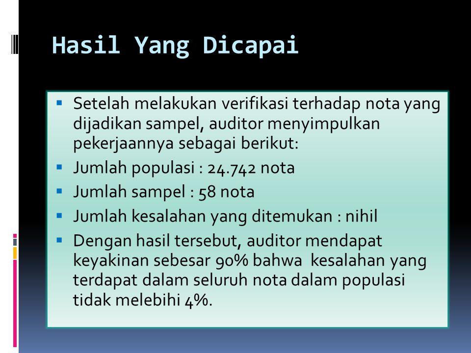 Hasil Yang Dicapai Setelah melakukan verifikasi terhadap nota yang dijadikan sampel, auditor menyimpulkan pekerjaannya sebagai berikut: