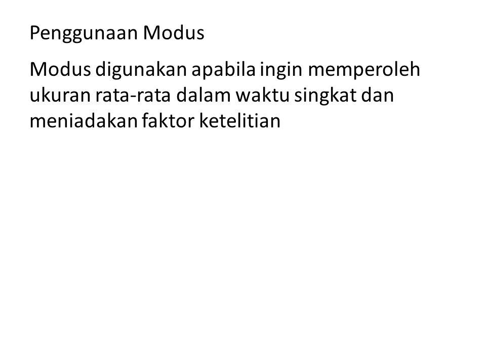 Penggunaan Modus Modus digunakan apabila ingin memperoleh ukuran rata-rata dalam waktu singkat dan meniadakan faktor ketelitian.