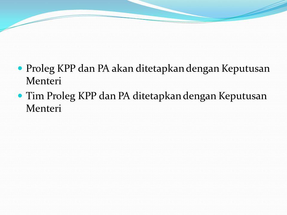 Proleg KPP dan PA akan ditetapkan dengan Keputusan Menteri