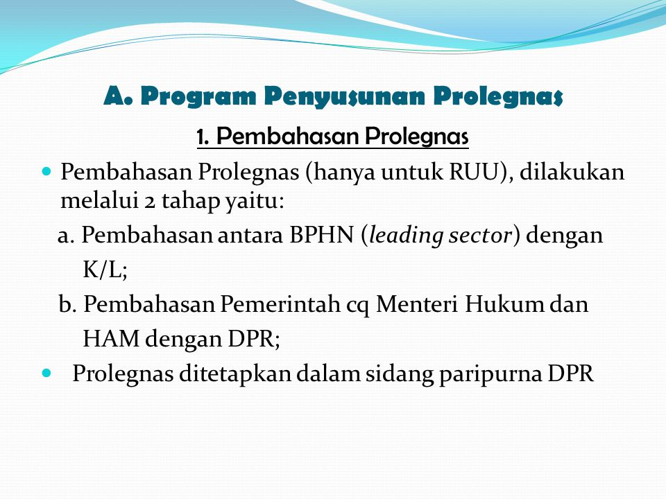 A. Program Penyusunan Prolegnas