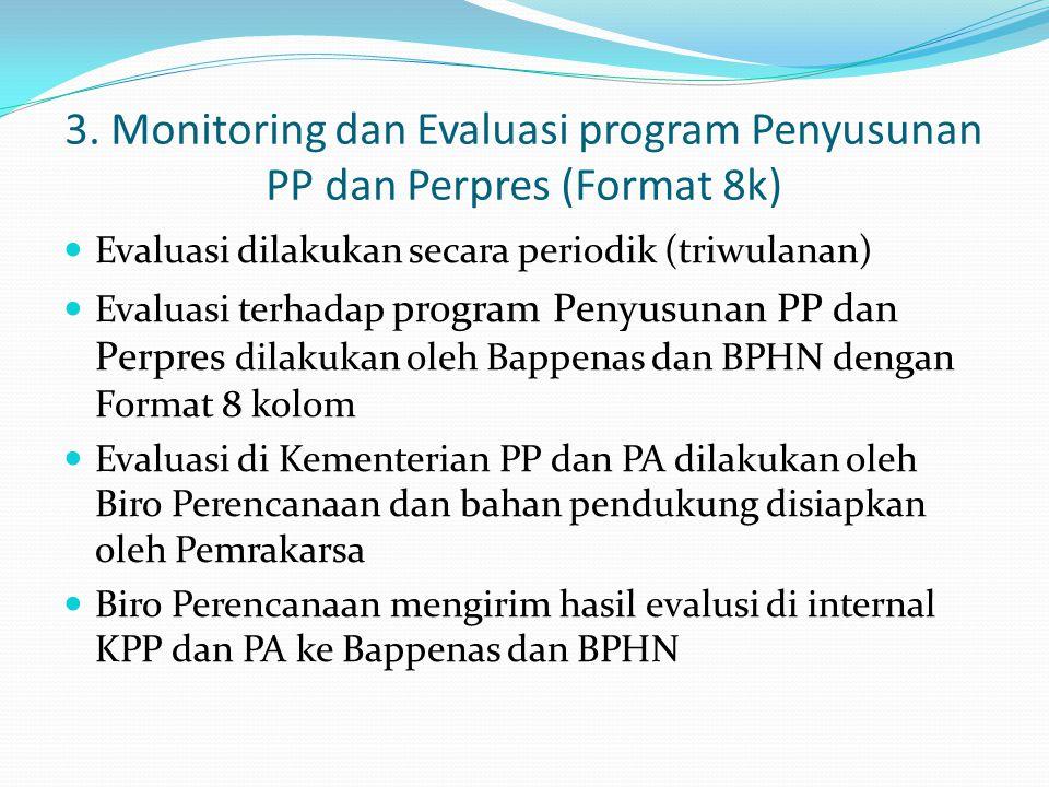 3. Monitoring dan Evaluasi program Penyusunan PP dan Perpres (Format 8k)