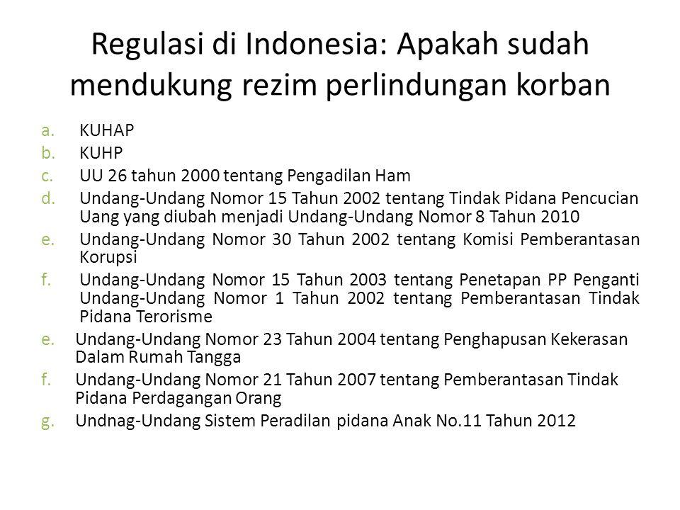 Regulasi di Indonesia: Apakah sudah mendukung rezim perlindungan korban