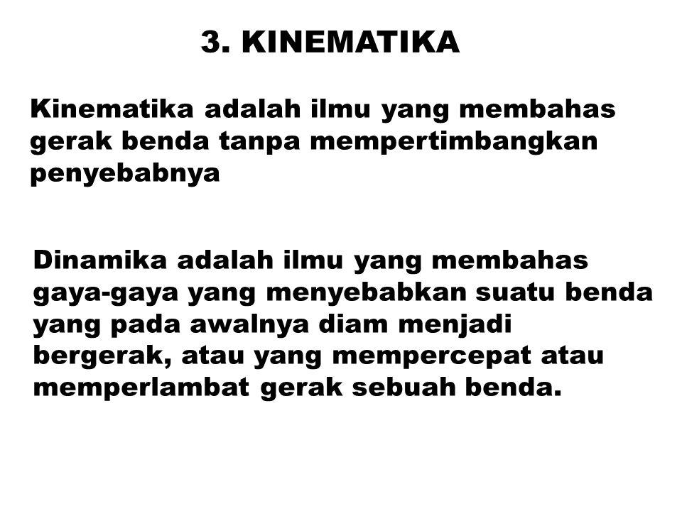 3. KINEMATIKA Kinematika adalah ilmu yang membahas