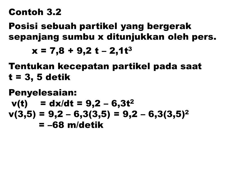 Contoh 3.2 Posisi sebuah partikel yang bergerak. sepanjang sumbu x ditunjukkan oleh pers. x = 7,8 + 9,2 t – 2,1t3.