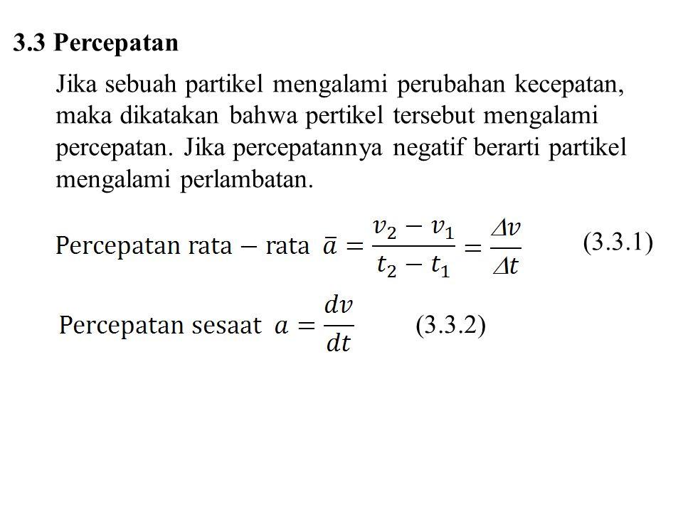 3.3 Percepatan Jika sebuah partikel mengalami perubahan kecepatan, maka dikatakan bahwa pertikel tersebut mengalami.