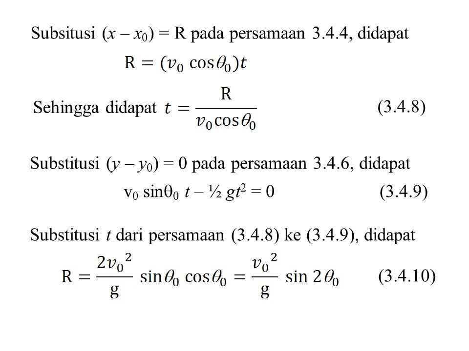 Subsitusi (x – x0) = R pada persamaan 3.4.4, didapat