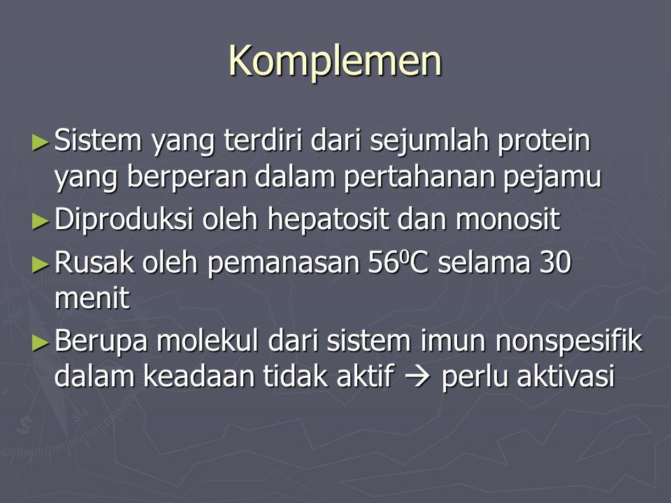 Komplemen Sistem yang terdiri dari sejumlah protein yang berperan dalam pertahanan pejamu. Diproduksi oleh hepatosit dan monosit.