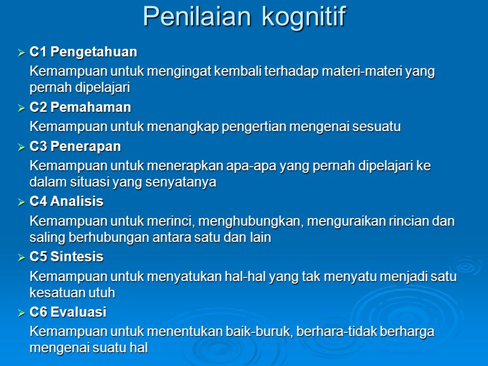 Penilaian kognitif C1 Pengetahuan