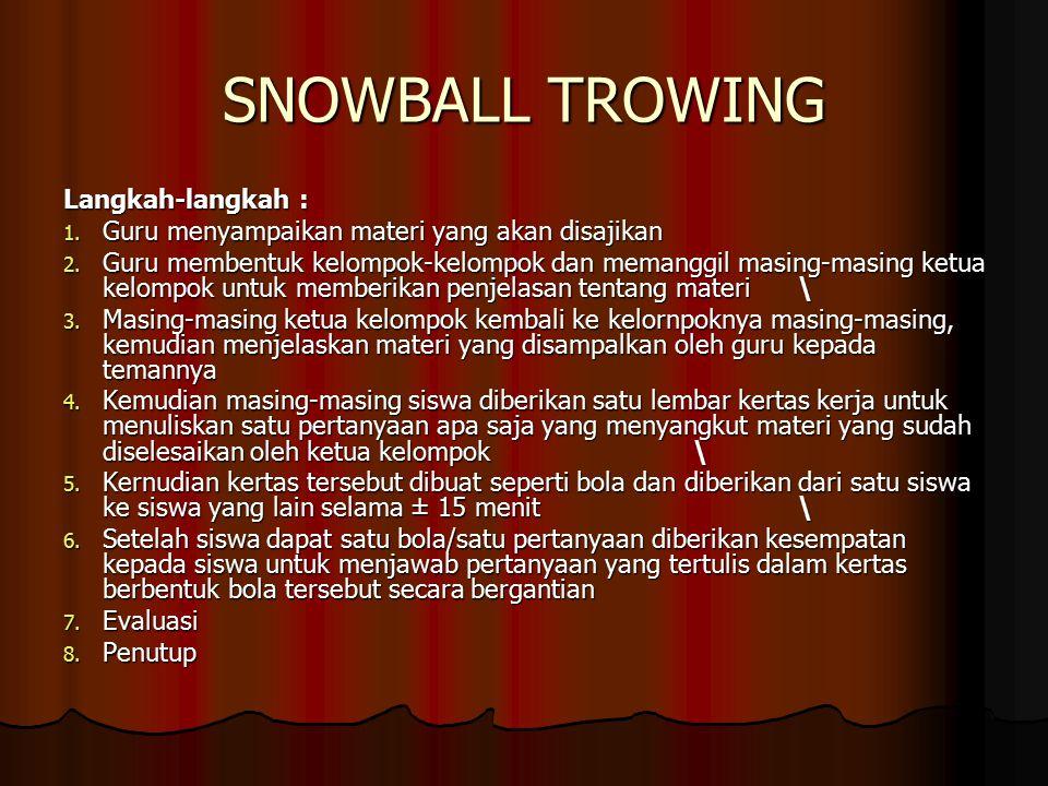 SNOWBALL TROWING Langkah-langkah :