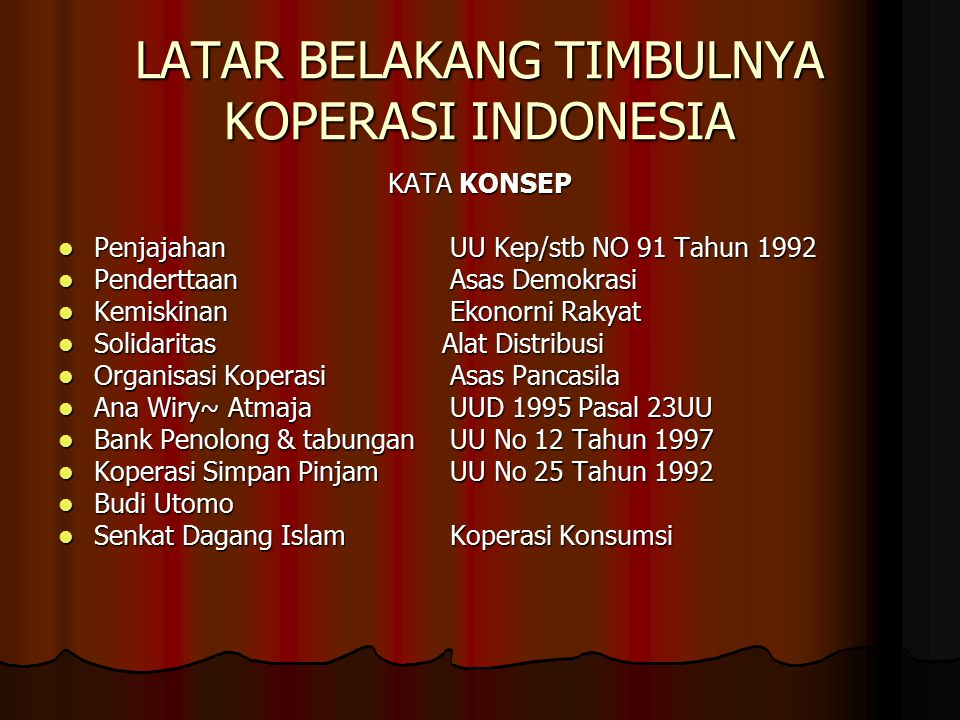 LATAR BELAKANG TIMBULNYA KOPERASI INDONESIA