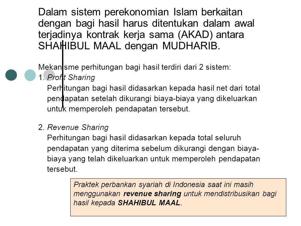Dalam sistem perekonomian Islam berkaitan dengan bagi hasil harus ditentukan dalam awal terjadinya kontrak kerja sama (AKAD) antara SHAHIBUL MAAL dengan MUDHARIB.