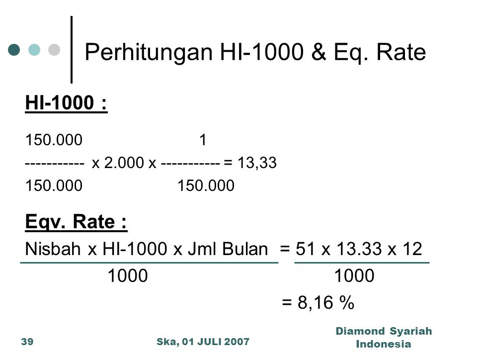 Perhitungan HI-1000 & Eq. Rate