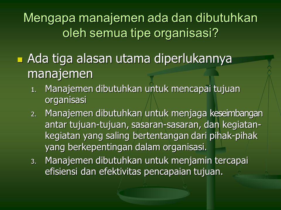 Mengapa manajemen ada dan dibutuhkan oleh semua tipe organisasi