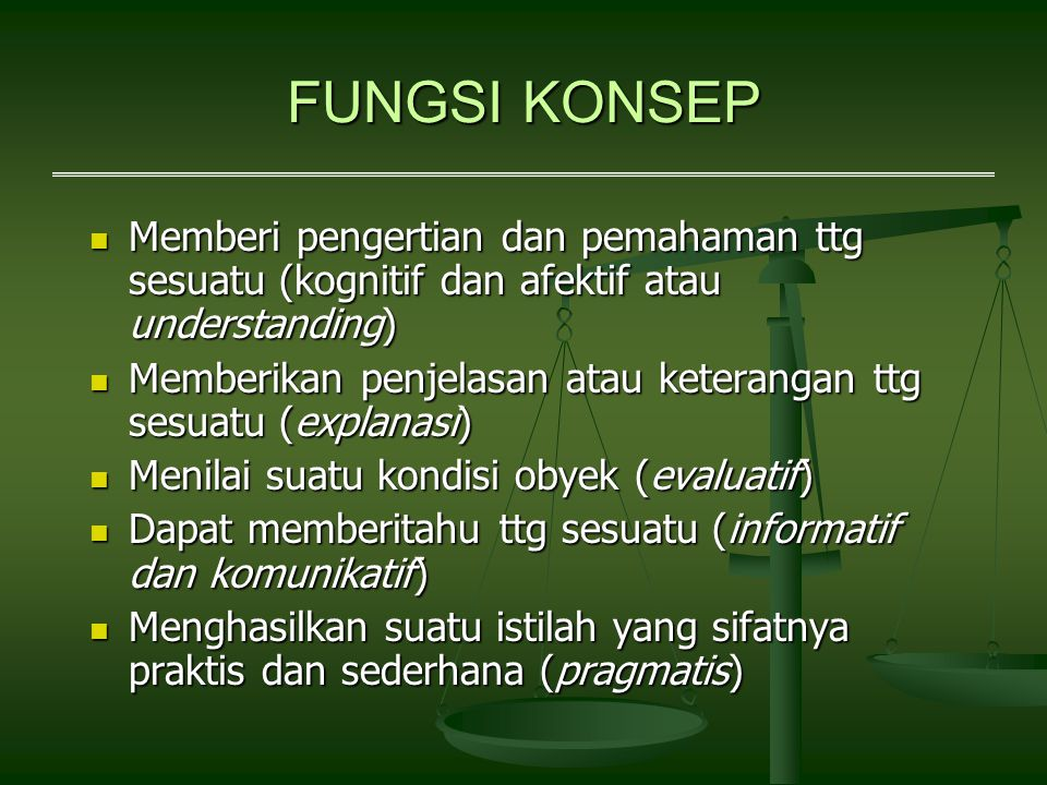 FUNGSI KONSEP Memberi pengertian dan pemahaman ttg sesuatu (kognitif dan afektif atau understanding)