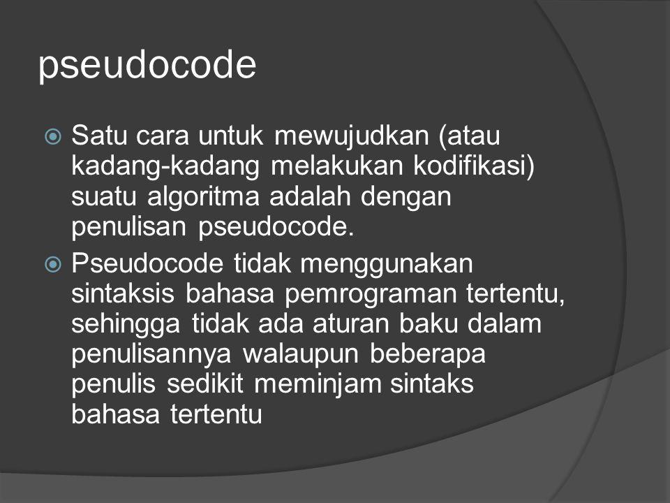 pseudocode Satu cara untuk mewujudkan (atau kadang-kadang melakukan kodifikasi) suatu algoritma adalah dengan penulisan pseudocode.