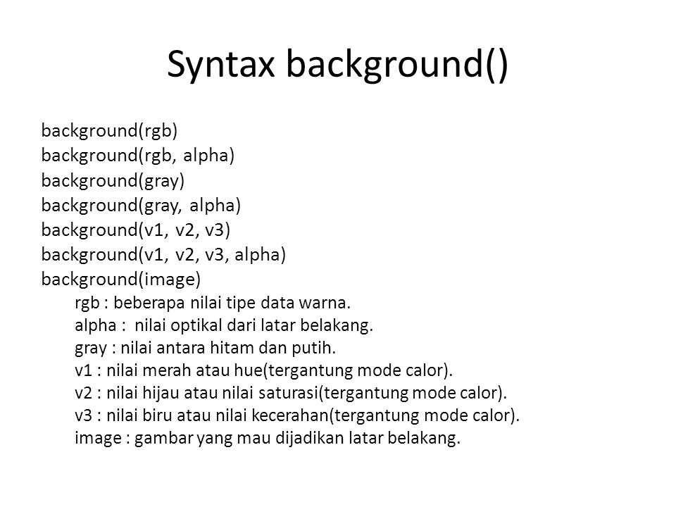 Syntax background() background(rgb) background(rgb, alpha)
