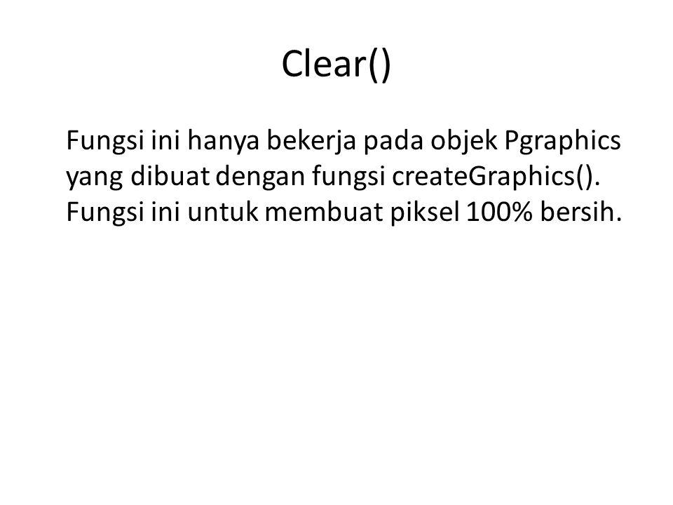 Clear() Fungsi ini hanya bekerja pada objek Pgraphics yang dibuat dengan fungsi createGraphics().
