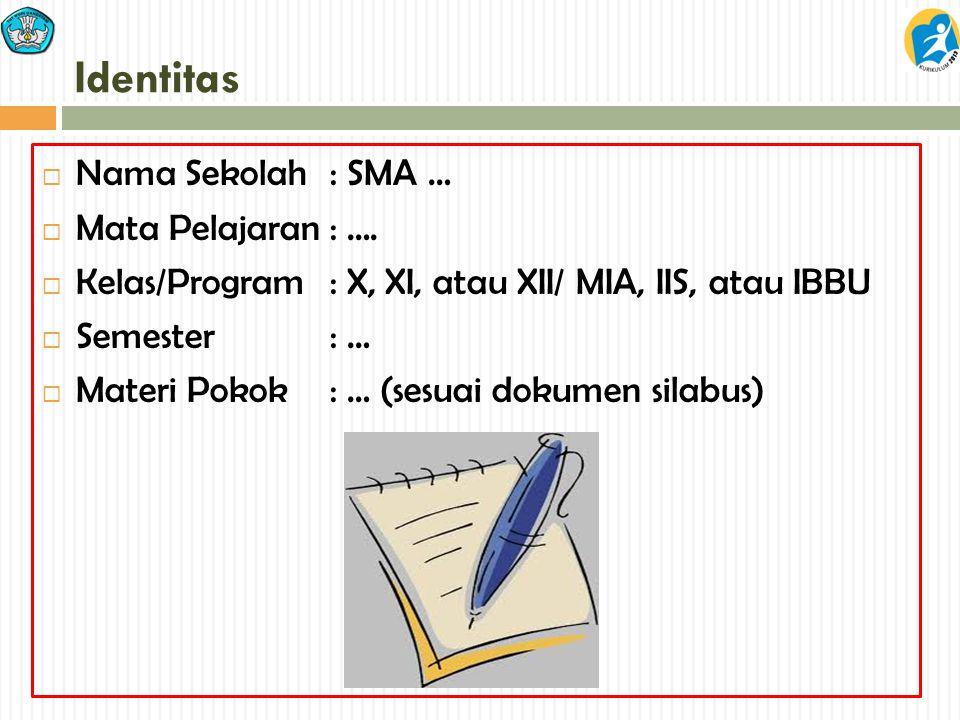 Identitas Nama Sekolah : SMA … Mata Pelajaran : ….