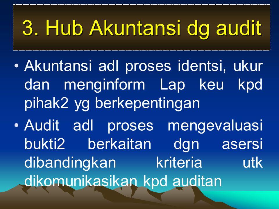 3. Hub Akuntansi dg audit Akuntansi adl proses identsi, ukur dan menginform Lap keu kpd pihak2 yg berkepentingan.