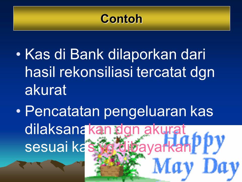 Kas di Bank dilaporkan dari hasil rekonsiliasi tercatat dgn akurat