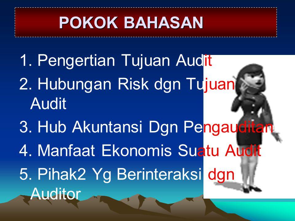 POKOK BAHASAN 1. Pengertian Tujuan Audit. 2. Hubungan Risk dgn Tujuan Audit. 3. Hub Akuntansi Dgn Pengauditan.