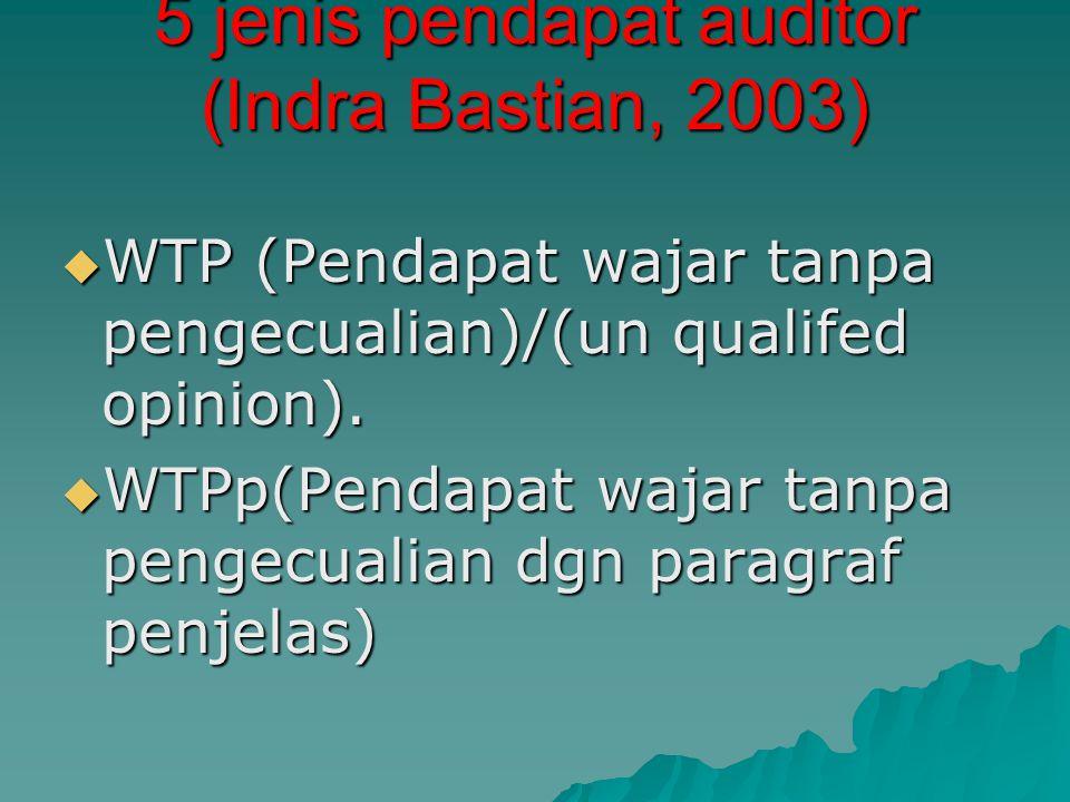 5 jenis pendapat auditor (Indra Bastian, 2003)