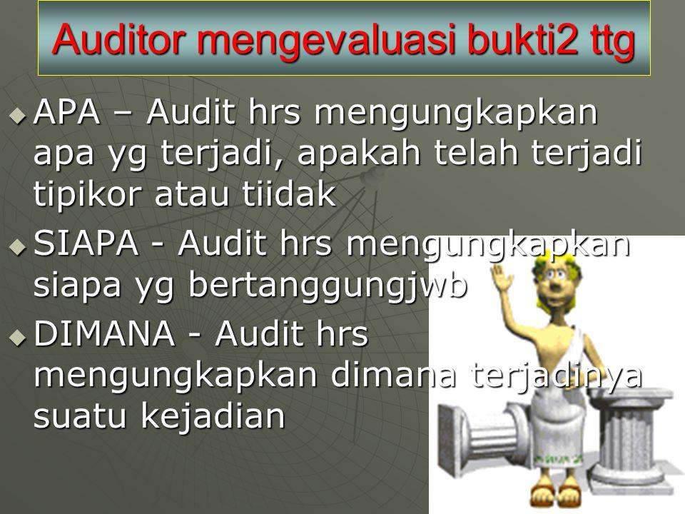 Auditor mengevaluasi bukti2 ttg
