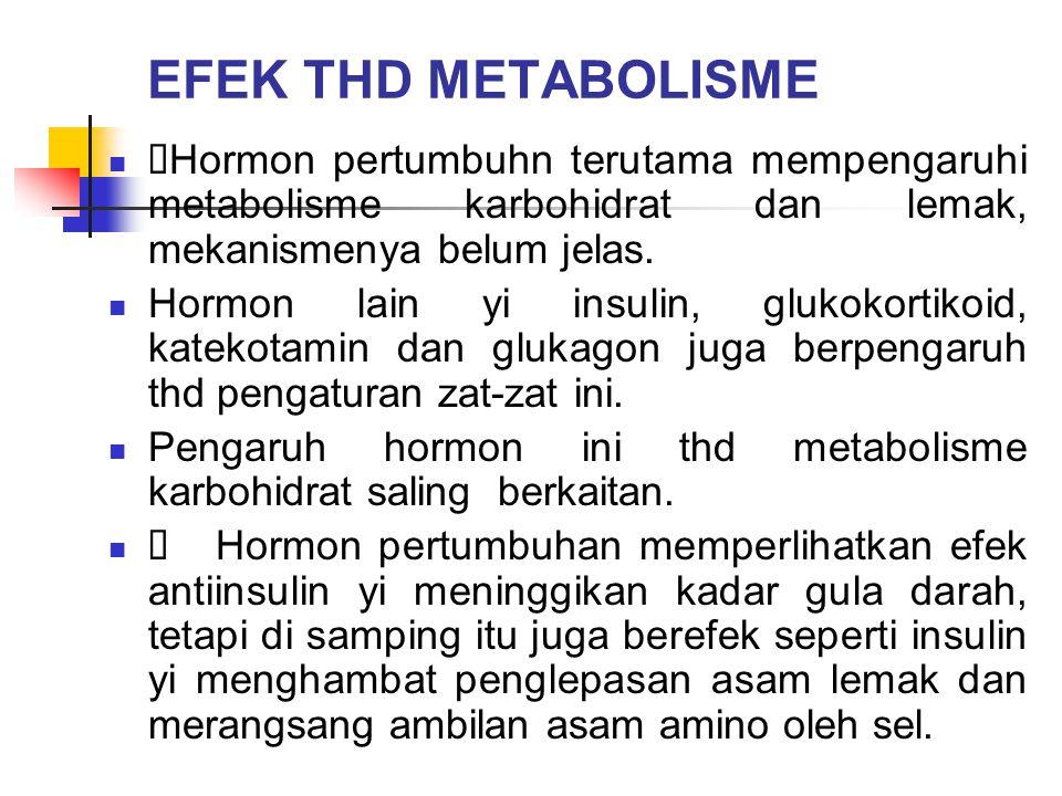 EFEK THD METABOLISME ÜHormon pertumbuhn terutama mempengaruhi metabolisme karbohidrat dan lemak, mekanismenya belum jelas.
