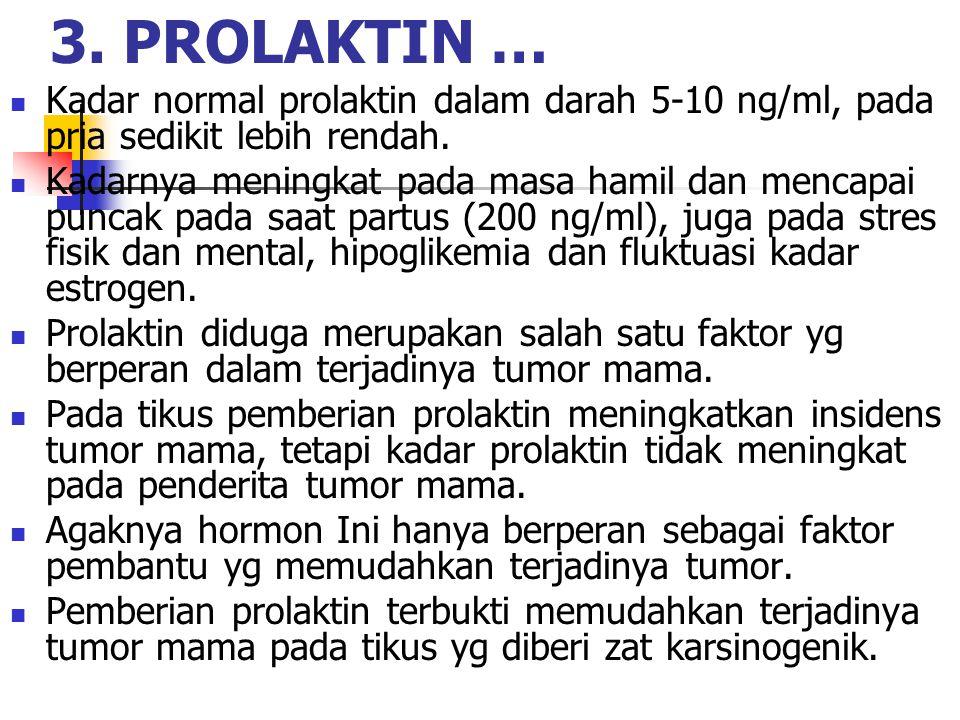 3. PROLAKTIN … Kadar normal prolaktin dalam darah 5-10 ng/ml, pada pria sedikit lebih rendah.