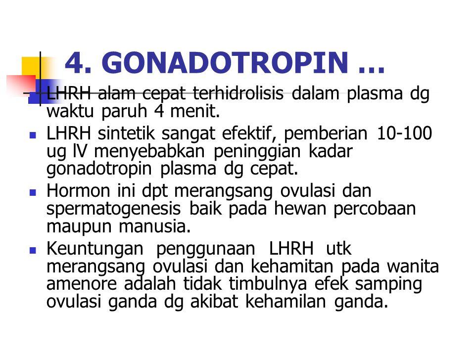4. GONADOTROPIN … LHRH alam cepat terhidrolisis dalam plasma dg waktu paruh 4 menit.