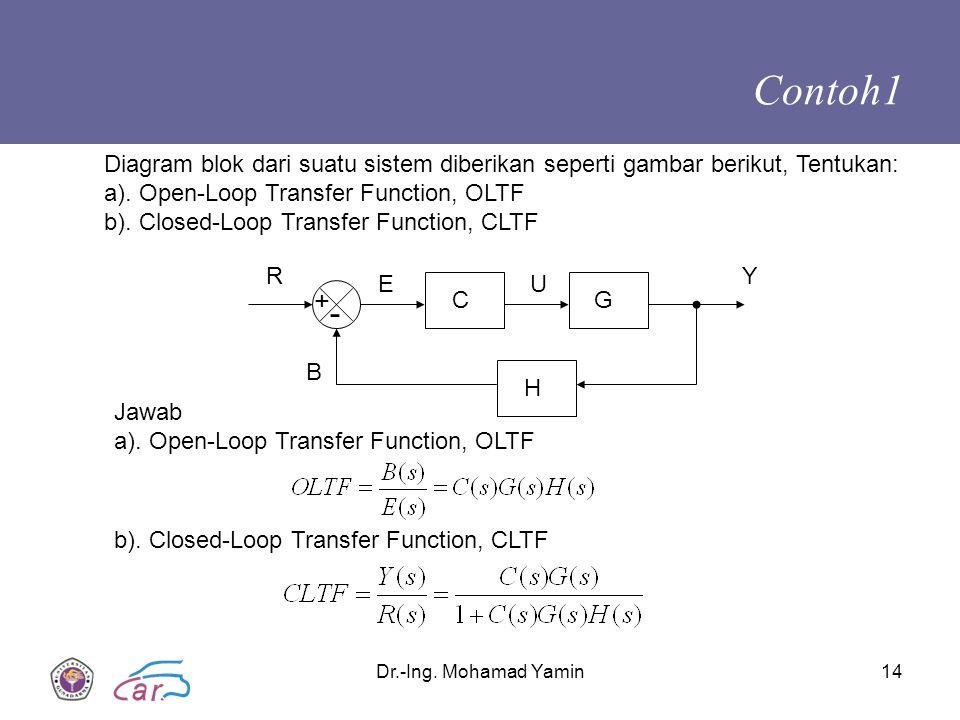 Contoh1 Diagram blok dari suatu sistem diberikan seperti gambar berikut, Tentukan: a). Open-Loop Transfer Function, OLTF.