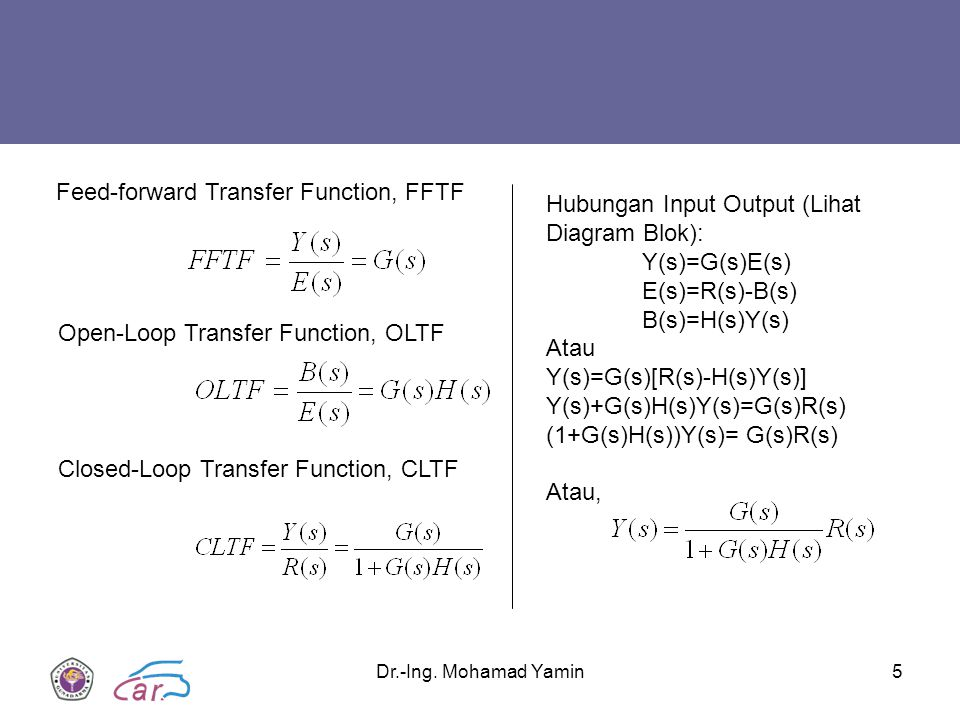 Feed-forward Transfer Function, FFTF Hubungan Input Output (Lihat