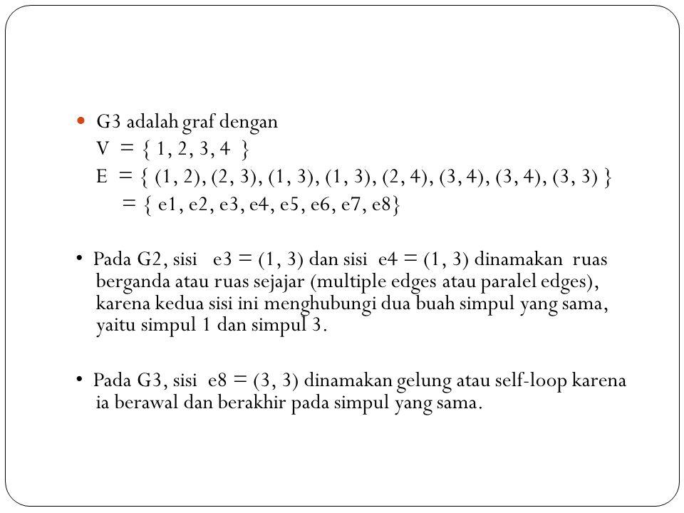 G3 adalah graf dengan V = { 1, 2, 3, 4 } E = { (1, 2), (2, 3), (1, 3), (1, 3), (2, 4), (3, 4), (3, 4), (3, 3) }