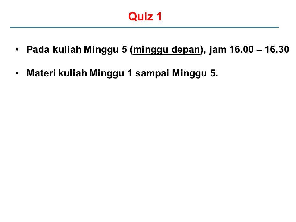 Quiz 1 Pada kuliah Minggu 5 (minggu depan), jam 16.00 – 16.30