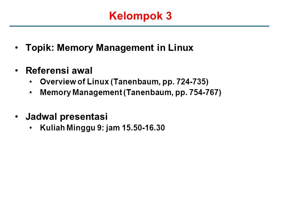 Kelompok 3 Topik: Memory Management in Linux Referensi awal